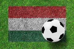 Soccer ball on hungary flag as a painting on green grass Stock Photos