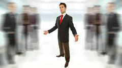 young business man full body with open arms waiting - stock photo