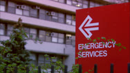 Stock Video Footage of EMERGENCY SERVICES Sign at Hospital Entrance Multiple Shots HD Video