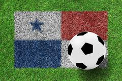 Soccer ball on flag of panama as a painting on green grass Stock Photos