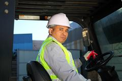 forklift driver - stock photo