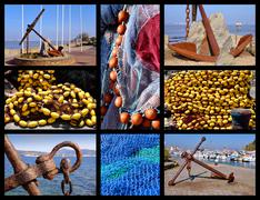 Mosaic photos marin anchors and fishing nets Stock Photos