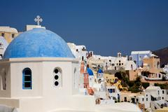 View of oia at the greek island of santorini Stock Photos