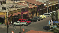 Mexico City Street Traffic High View Around Plaza del Maguey Zoom Out HD Video Stock Footage