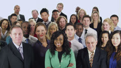 Cheerful mixed group of business people isolated on white Stock Footage