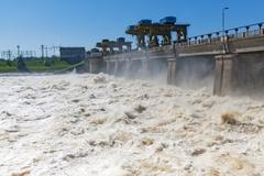 Discharge of water for hydropower plants Stock Photos