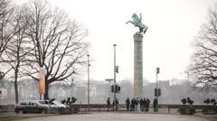 Uhlan Regiment Memorial in Dusseldorf Germany Stock Footage