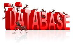 Building database ants collecting data Stock Illustration