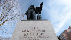 Felix Mendelssohn Bartholdy Statue in Dusseldorf Germany Stock Footage