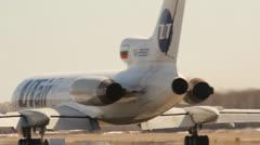 Takeoff Tu-154 airline Utair, tail number RA-85681, Stock Footage