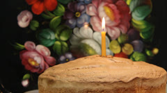 First Birthday Cake. Single candle Stock Footage