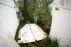 Hurricane Fence Damage - stock photo