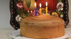 Third birthday cake. Three birthday candles Stock Footage