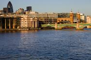 Stock Photo of london view, river thames with some old and new buildings