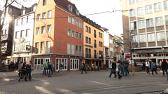Tourists Visit Dusseldorf Historical Center - stock footage