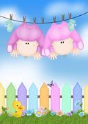 Stock Illustration of baby twin girls