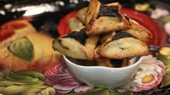 Purim Jewish Pastry Hamantashen Stock Footage