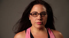Hispanic Latino women changes her facial expressions suddenly - stock footage