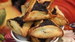 Purim Jewish Pastry Hamantashen - stock footage