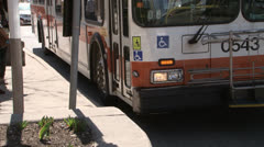 Passengers Boarding City Bus Stock Footage