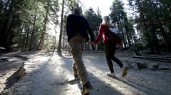 Romantic couple stroll together and explore the giant sequoia trees of yosemite - stock footage