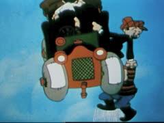 Cartoon Flying Car Stock Footage