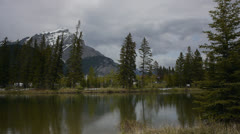 Canada, Banff, Lake and Distant Mountains 1 Stock Footage