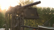 MILITARY ARMOR GUN POSITIONED IN A ARMORED JEEP VEHICLE READY FOR WAR BATTLE HD Stock Footage