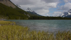 Canada, Canadian Rockies, Columbia Icefield, Pan Across Lake Stock Footage