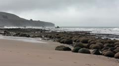 Bowling Ball Beach California Pacific Ocean mist HD 5710 Stock Footage