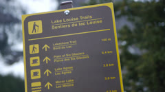 Canada, Canadian Rockies, Columbia Icefield, Lake Louise Trails Sign Stock Footage