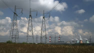 Stock Video Footage of high voltage power pylons 05