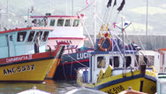 Stock Video Footage of Chile, Chiloe, Candelaria IV Docked Fishing Boats