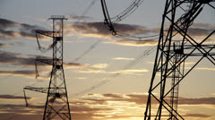 High voltage power pylons 06 Stock Footage