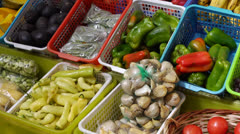 Chile, Chiloe, Castro Market, Fresh Peppers and Fruits Stock Footage