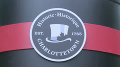 Canada, Prince Edward Island, Charlottetown, Charlottetown History Sign Stock Footage