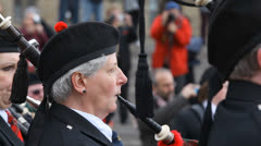 Mature Female Piper In Traditional Scottish Pipe Band Stock Footage