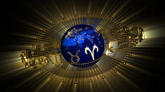 Golden Astrology Zodiac Signs and Planet Earth Stock Footage