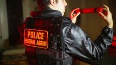 Police examining bomb fed federal bomb squad Stock Footage
