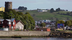 Chile, Chiloe, Dock and Cars and Distant Hills Stock Footage