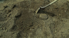 Large dirt pile digging grave top soil Stock Footage