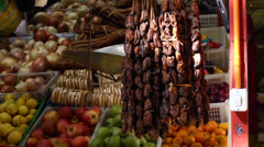 Chile, Chiloe, Castro Market, Smoked Mussels and Fruit Stock Footage