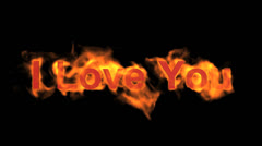 Fire I love you,flame text. Stock Footage