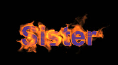 Flame sister word,fire text. Stock Footage