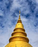 golden stupa of thai temple in thailand - stock photo