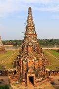 stupa old temple of ayuthaya, thailand, - stock photo