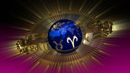 Stock Video Footage of Golden Astrology Zodiac Signs and Planet Earth