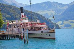 "Vitznau - june 26 the steam boat ""luzern"" leaving vitznau pier on june 26, 20 Stock Photos"