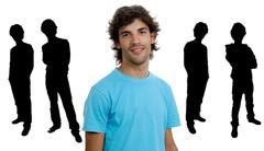 Young man portrait with some men in silhouette Stock Illustration