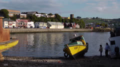 Chile, Chiloe, Harbor and Careened Boat Stock Footage
